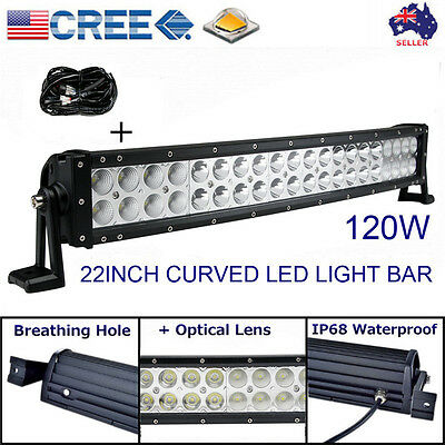 """22inch 120W LED WORK LIGHT BAR CURVED FLOOD SPOT OFFROAD 4WD SUV ATV TRUCK 22"""""""