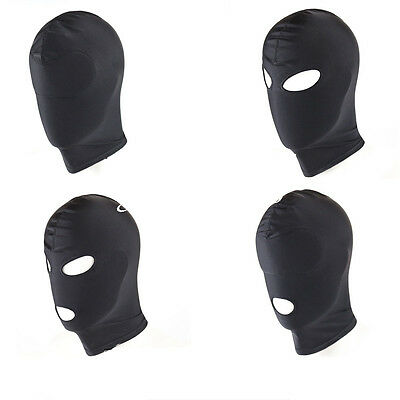 Spandex Mask Padded Blindfold Headgear Mouth Eye Open Facemask Restraints Slave