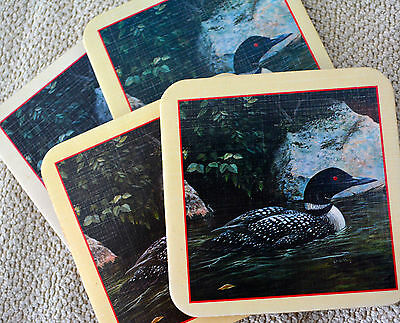 LOON COASTERS Set 4 Camp Cabin Lodge Rustic Maine Decor Common Loon Bird Vintage