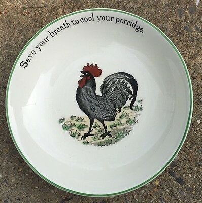 Adams Rooster Cereal Bowl  Ironstone Save Your Breath To Cool Porridge Folk Art