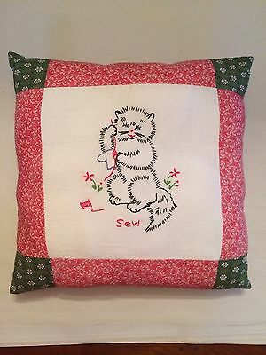 """Vintage Handmade Embroidered Cat Pillow 15"""" X 15"""""""