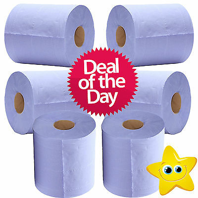 6 x 2 Ply Blue Centre Feed Embossed Paper Wipes Rolls Hand Towel Tissue