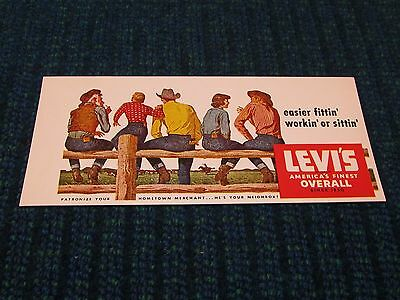 Vintage Levi's Strauss Overalls Jeans Advertising Ink Blotter Cowboy Since 1850