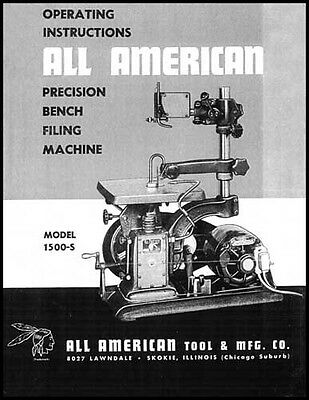 All American 1500S Precision Bench Filing Machine Manual