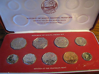 1977 Republic of Malta Decimal 9 Coin Proof Set minted by Franklin Mint Flat# TH