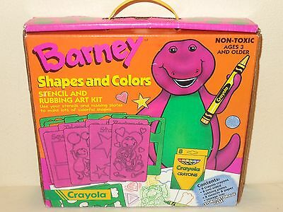 1993 Crayola BARNEY the Dinosaur Shapes and Colors STENCILS & RUBBING ART KIT