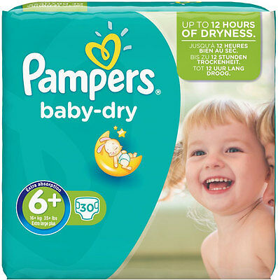 Pampers Baby Dry Size 6+ Extra Large Plus 17kg+ (30)