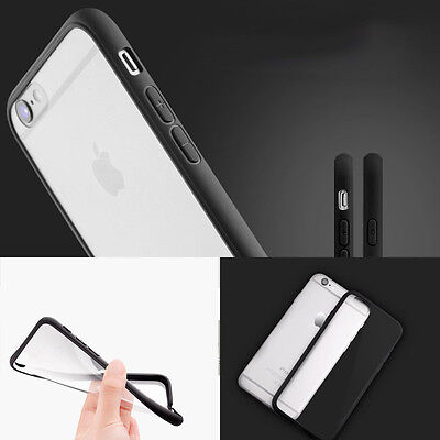 PC Silicone iPhone 6 6s Case Cover Ultrathin Slim Transparent Black Side Crystal