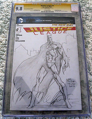 Justice League #1 CGC 9.8 SS Signed By Mark Texeira Original Batman Sketch
