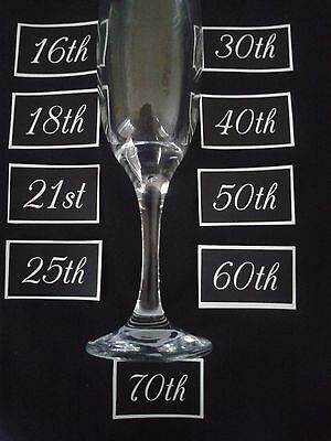 """Giant Anniversary / birthday numbers etching on glass 10th - 70th  1.5"""" high mix"""