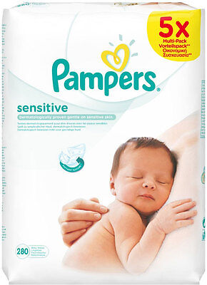 Pampers Sensitive Baby Wipes (56 per pack x 5)