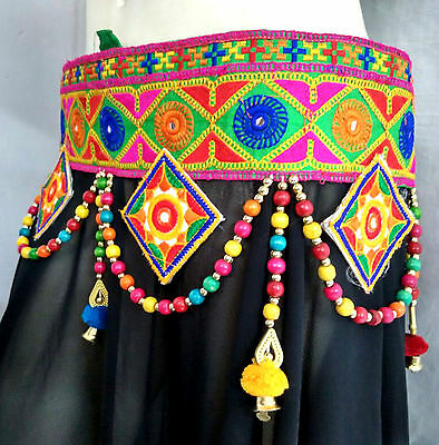 Embroidery Ethnic Belt Belly Dance Hip Costume Jewelry Medallion Tassle Banjara