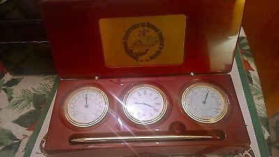 Coal commerative Clock, Thermometer and Hygrometer Desk Set Box With Pen
