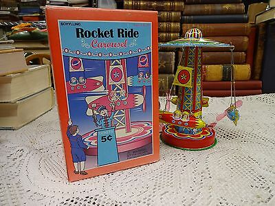 Schylling Rocket Ride Carousel ~ Tin Litho Toy 2000 Reproduction