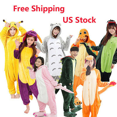 Hot Unisex Adult Pajamas Kigurumi Cosplay Costume Animal Onesie Sleepwear S-XL