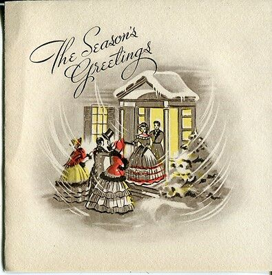 Vintage Christmas Card: Victorian Couple Greeting Guest at Door