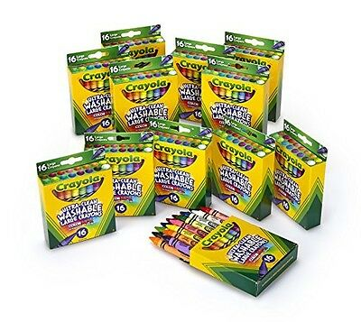 Crayola Washable Crayons 16 Count Large Size Ultra Clean (Set of 12 Each)