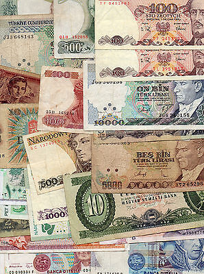 Banknotes  Large Lot x 23  World Poland Italy Hungry MORE  !!!!