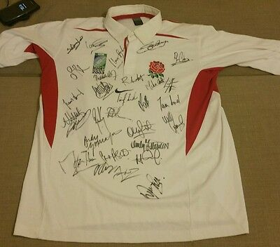 Signed England Rugby 2003 World Cup Shirt Xxl