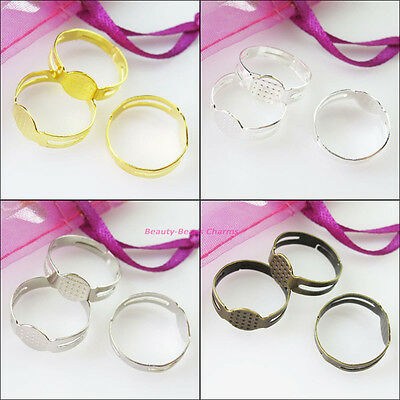 15 New Gold Dull Silver Bronze Plated Open Rings Circle With Pad Adjusted 18mm