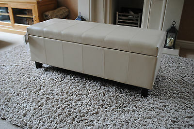 Cream Real Leather Storage Footstool Pouffe Ottoman NEW