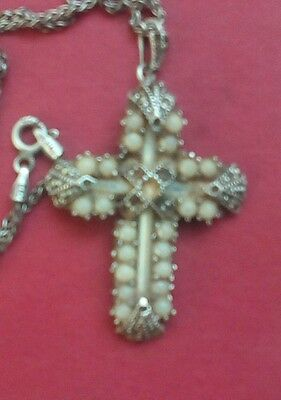 antique silver and pearl cross