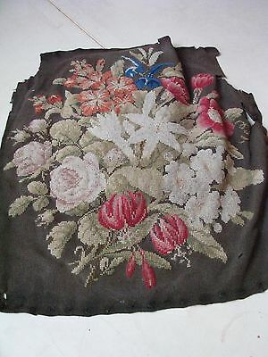 Antique Victorian Pettipoint Seat Cover