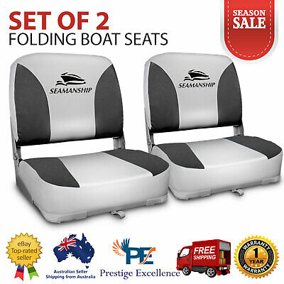 Set of 2 Folding Boat Seats Swivel Marine Seat Swivels All Weather Grey Seating