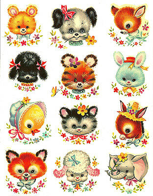 SHaBbY RePrO MeYeRCoRD ANiMaL FaCeS NurSeRY WaTerSLiDe DeCALs