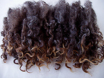 20g Wensleydale locks, curls, black-grey,felting,dolls hair,spinning,wool, 0.7oz