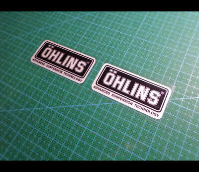 2 Pics samll OHLINS ADVANCED SUSPENSION Reflective Decal Sticker (60 mm x 29 mm)