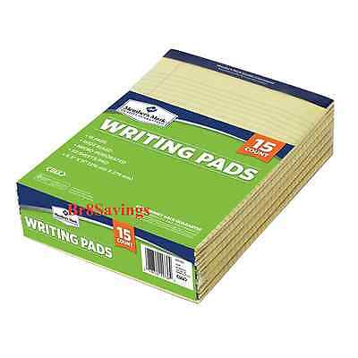 "30 Letter Sized Legal Perforated Writing Pad Pads 8 1/2"" x 11 3/4 Yellow Paper"