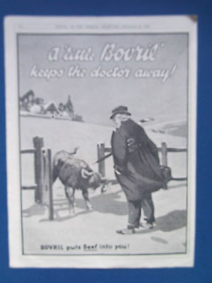 """BOVRIL ADVERT DATED 1925 """"A LITTLE BOVRIL KEEPS THE DOCTOR AWAY"""" 22cm x 29cm"""