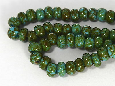 """Czech Glass Seed Beads Size 1/0 """" PICASSO TURQUOISE BLUE """" Strands"""