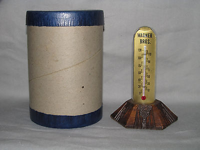 """Vintage Glass Dome Advertising Thermometer """"Wagner Funeral Home"""" Streator, IL"""