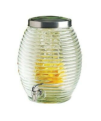 Circleware Beehive Glass Beverage Drink Dispenser with Fruit Infuser, Spigot and