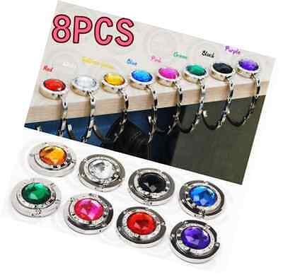 8pcs Purse Hooks Crystal Folding Handbag Hanger Holder Women Bag Storage New
