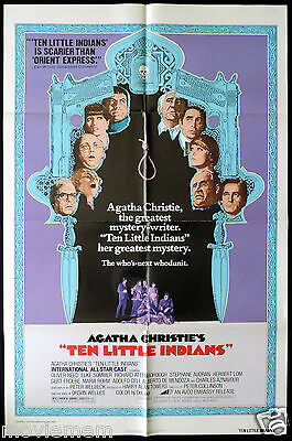 TEN LITTLE INDIANS Rare US ONE SHEET Movie poster Agatha Christie