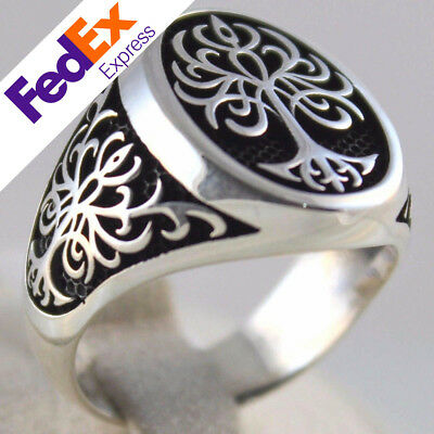 Tree of Life 925 Sterling Silver Turkish Handmade Statement Men's Ring All Sizes