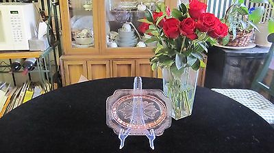 Pink Depression Glass Relish Dish by JEANNETTE in Adam Pattern mfg 1932-1934