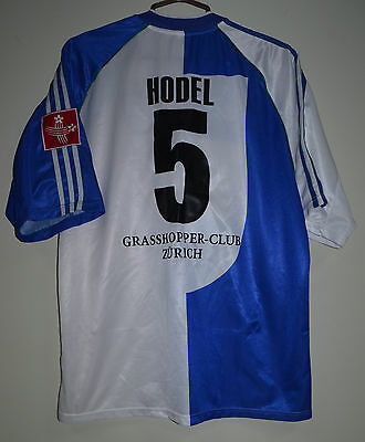 Grasshoppers Switzerland 1990's Match Worn Issue Football Shirt Adidas #5 Hodel