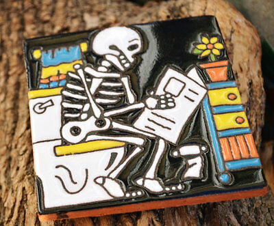 """2 Talavera Mexican tile pottery hand painted 4"""" hand made Day of the Dead"""