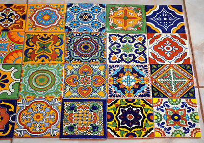 """24 Mexican Talavera Tiles.Hand painted 4 """"X 4"""""""