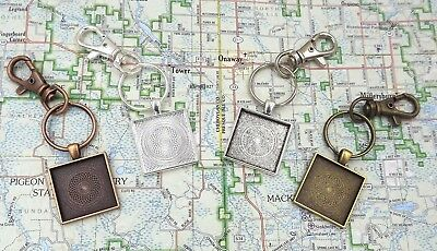 1 inch square pendant trays key chains in your choice of color