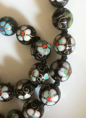 Vintage Real Chinese Antique Cloisonne Enamel Ball Necklace 24 inch long