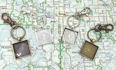 1 inch square pendant trays key chains with flat glass in your choice of color