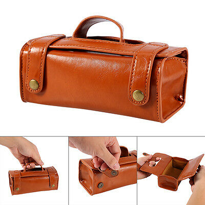 Men Portable Cosmetic Pouch Brown PU Leather Shaving Brush & Razor Toiletry Bag