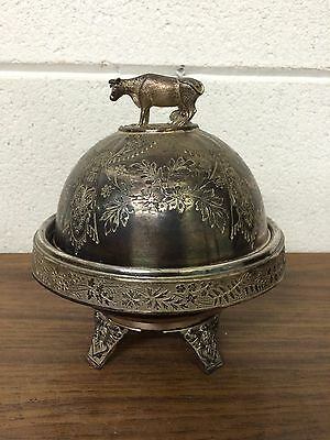 Antique Victorian Silver Plate Figural Butter Dish Cow Finial