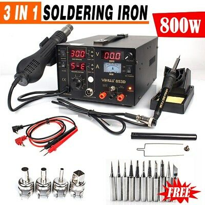 GENUINE YIHUA 3in1 Soldering Iron Station Hot Air Rework Station DC Power Supply
