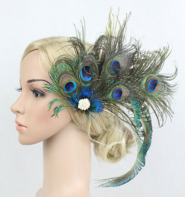 Vintage Peacock Feather Headpieces Fascinator Hair Clip Wedding Horse Show Event